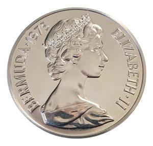 Bermuda 1975 Royal Visit 25 Dollars Copper-Nickel Coin in Card