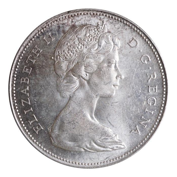 Canadan 1965 Yoyageur Silver Dollar Gvf Nef Lustre