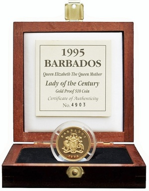 Barbados, $10 Gold Proof 1995 Rev: 'Queen Mother's Engagement' Boxed with  Royal Mint certificate, FDC